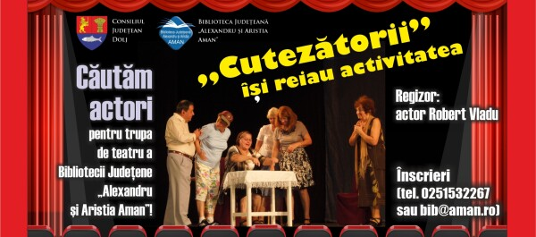 Căutăm actori pentru trupa de teatru amator a bibliotecii